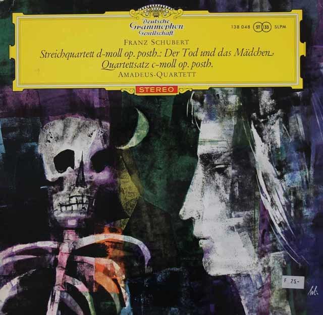 【独最初期盤/赤ステレオ】 アマデウス四重奏団のシューベルト/「死と乙女」ほか 独DGG 3112 LP レコード