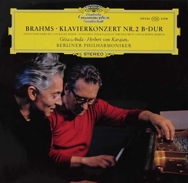 アンダ&カラヤンのブラームス/ピアノ協奏曲第2番 独DGG 3112 LP レコード