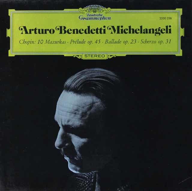 ミケランジェリのショパン/10のマズルカ、前奏曲第25番ほか 独DGG 3112 LP レコード