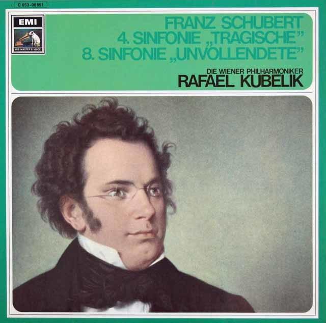 クーベリックのシューベルト/交響曲第4番「悲劇的」&第8番「未完成」 独EMI 3113 LP レコード