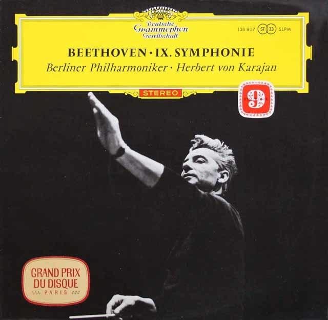 【赤ステレオ・オリジナル盤】カラヤンのベートーヴェン/交響曲第8&9番 独DGG 3113 LP レコード