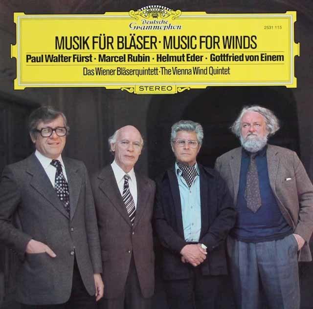 ウィーン木管五重奏団による現代音楽集 独DGG 3114 LP レコード