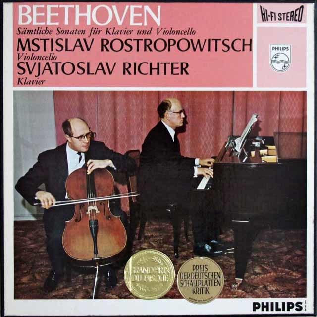 ロストロポーヴィチ&リヒテルのベートーヴェン/チェロソナタ全集 蘭PHILIPS 3114 LP レコード
