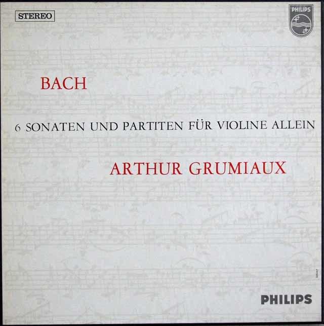 グリュミオーのバッハ/無伴奏ソナタとパルティータ 蘭PHILIPS 3114 LP レコード