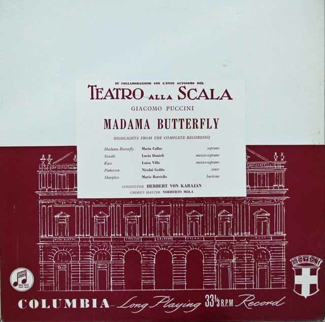 カラヤンのプッチーニ/「蝶々夫人」(抜粋) 英Columbia 3116 LP レコード