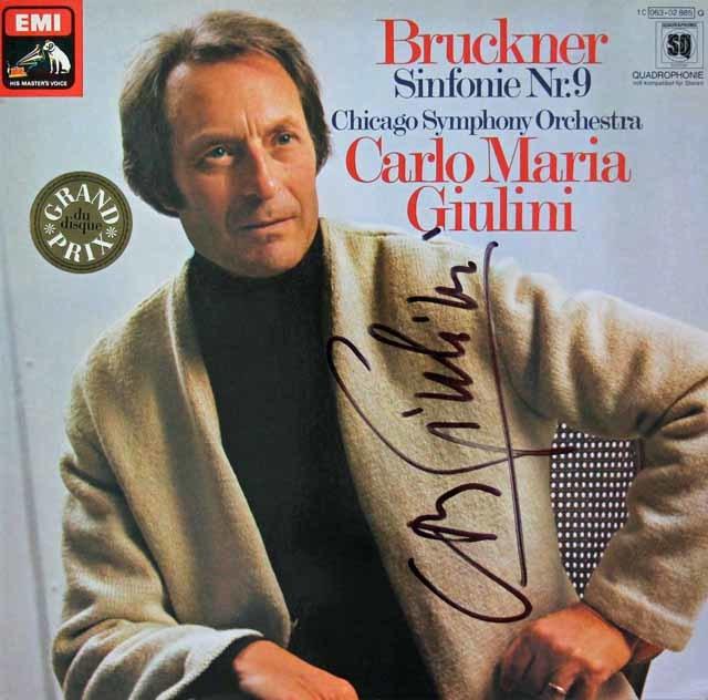 【直筆サイン入り】 ジュリーニのブルックナー/交響曲第9番 独EMI 3116 LP レコード