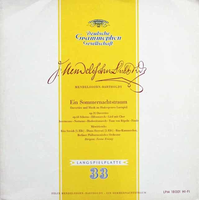 フリッチャイのメンデルスゾーン/「夏の夜の夢」  独DGG 3117 LP レコード