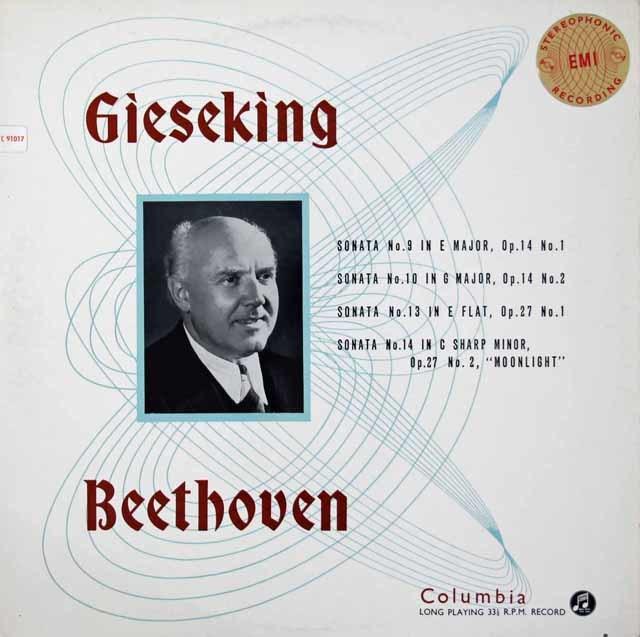 【オリジナル盤】ギーゼキングのベートーヴェン/ピアノソナタ第14番「月光」ほか  英Columbia   3118 LP レコード