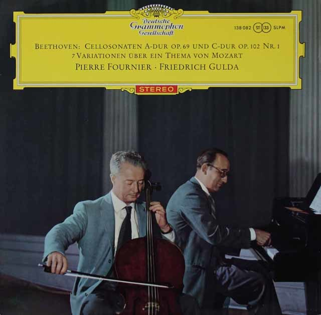 【赤ステレオ、オリジナル盤】 フルニエ&グルダのベートーヴェン/チェロソナタ第3、4番ほか 独DGG 3118
