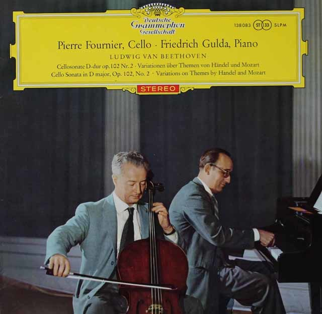 【赤ステレオ、オリジナル盤】 フルニエ&グルダのベートーヴェン/チェロソナタ第5番ほか 独DGG 3118