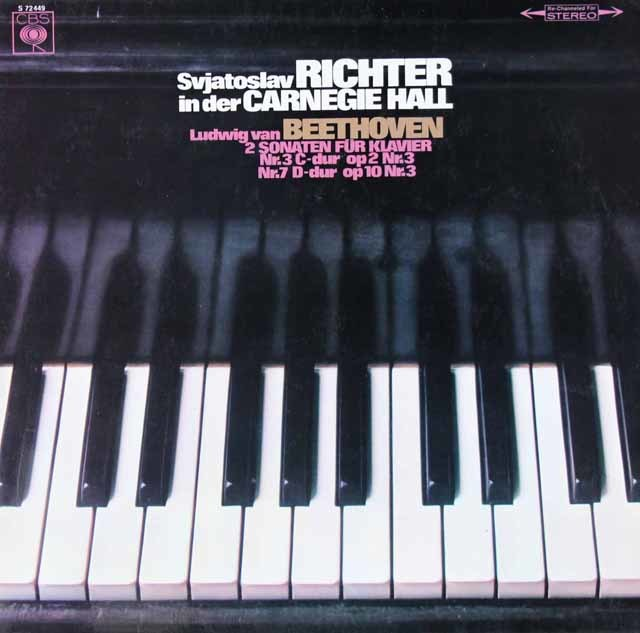 リヒテルのカーネギーホール・ライヴ ベートーヴェン/ピアノソナタ第3&7番 独CBS 3118 LP レコード