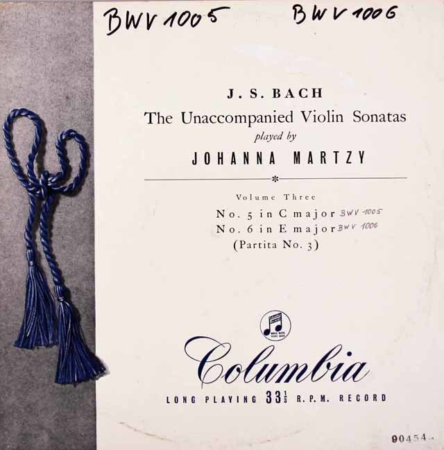 【オリジナル盤・訳あり】 マルツィのバッハ/無伴奏ヴァイオリンのためのソナタ第3番とパルティータ第3番 英Columbia 3119 LP レコード