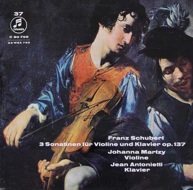 マルツィ&アントニエッティのシューベルト/ヴァイオリンとピアノのためのソナチネ第1~3番 独Columbia 3119 LP レコード