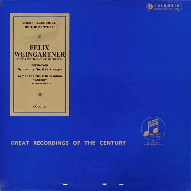 ワインガルトナーのベートーヴェン/交響曲第8&9番 英Columbia 3119 LP レコード