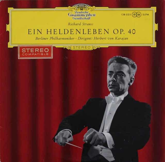 【赤ステレオ、オリジナル盤】 カラヤンのR.シュトラウス/「英雄の生涯」 独DGG 3120 LP レコード