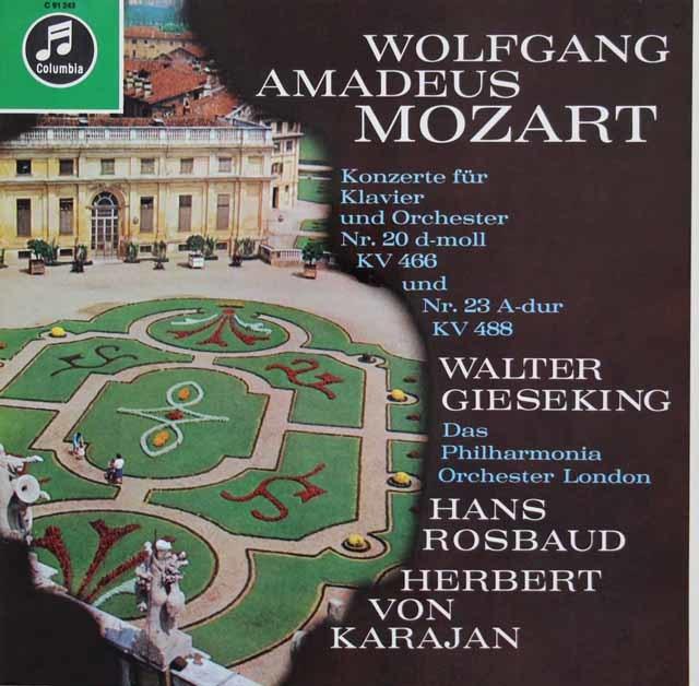 ギーゼキング&カラヤン他のモーツァルト/ピアノ協奏曲第20、23番 独Columbia 3120 LP レコード