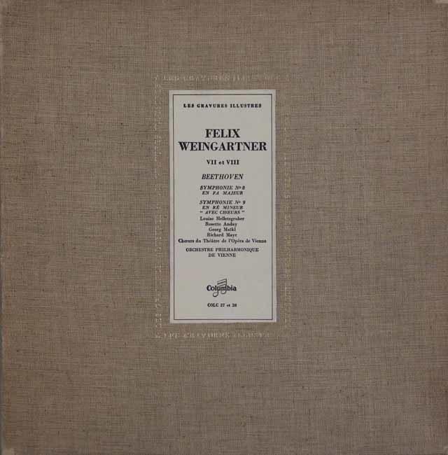 ワインガルトナーのベートーヴェン/交響曲第8&9番 仏Columbia 3120 LP レコード