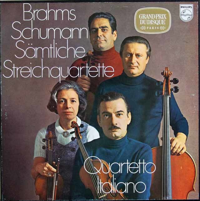 イタリア四重奏団のブラームス&シューマン/弦楽四重奏曲集 蘭PHILIPS  3120 LP レコード