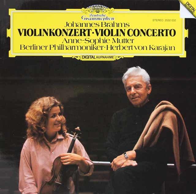 ムター&カラヤンのブラームス/ヴァイオリン協奏曲 独DGG 3121 LP レコード