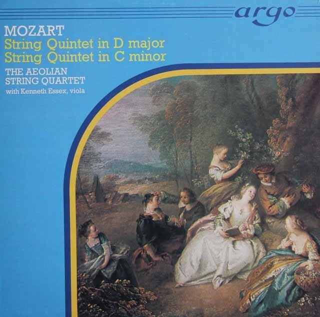 エオリアン四重奏団&エセックスのモーツァルト/弦楽五重奏曲第2&5番 英argo 3121 LP レコード