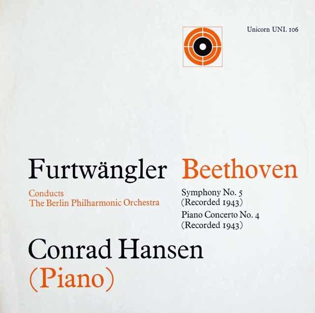 フルトヴェングラーのベートーヴェン/交響曲第5番「運命」ほか 英UNICORN 3121 LP レコード
