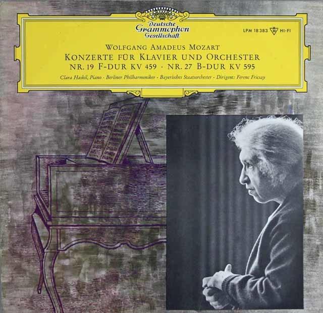 ハスキル&フリッチャイのモーツァルト/ピアノ協奏曲第19&27番 独DGG 3122 LP レコード