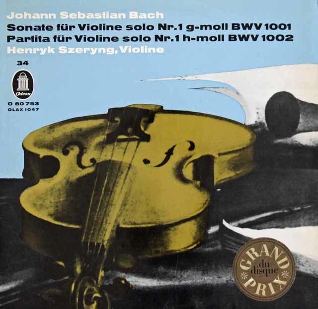 シェリングのバッハ/無伴奏ヴァイオリン・ソナタ第1番 & パルティータ第1番 独Odeon 3122 LP レコード
