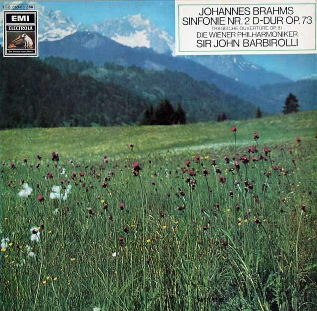 【独最初期盤】 バルビローリのブラームス/交響曲第2番ほか 独EMI 3122 LP レコード