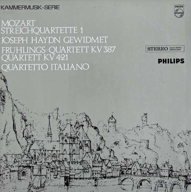 イタリア四重奏団のモーツァルト/弦楽四重奏曲第14番「春」&15番  蘭PHILIPS 3122 LP レコード