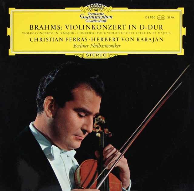 フェラス&カラヤンのブラームス/ヴァイオリン協奏曲 独DGG 3123 LP レコード
