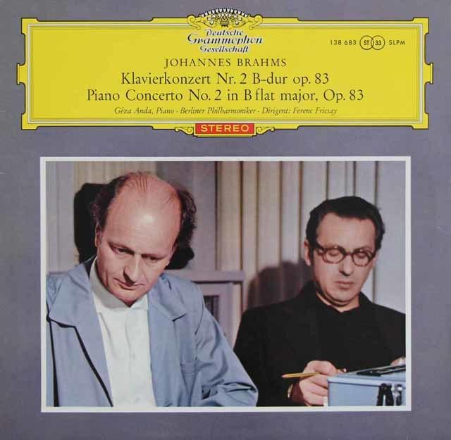 【赤ステレオ/独最初期盤】 アンダ&フリッチャイのブラームス/ピアノ協奏曲第2番 独DGG 3123 LP レコード