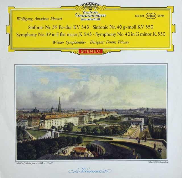 【赤ステレオ/独最初期盤】 フリッチャイのモーツァルト/交響曲第39&40番 独DGG 3123 LP レコード