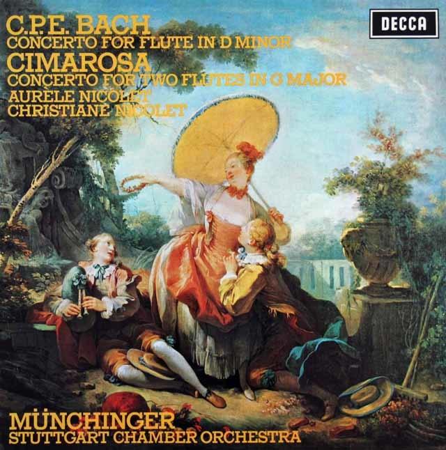 【オリジナル盤】 ニコレ&ミュンヒンガーらのC.P.E.バッハ&チマローザ/フルート協奏曲集 英DECCA 3123 LP レコード