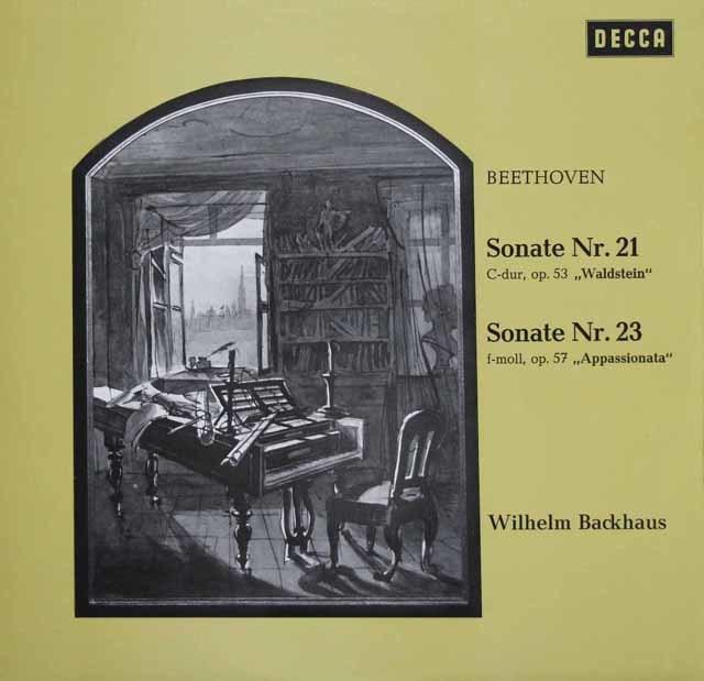 バックハウスのベートーヴェン/ピアノソナタ「ワルトシュタイン」&「熱情」 独DECCA 3123 LP レコード