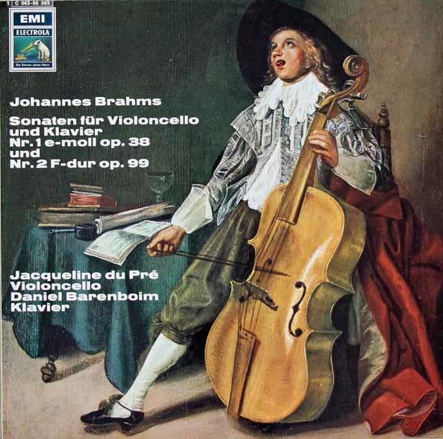 デュ・プレ&バレンボイムのブラームス/チェロソナタ第1&2番 独EMI 3124 LP レコード