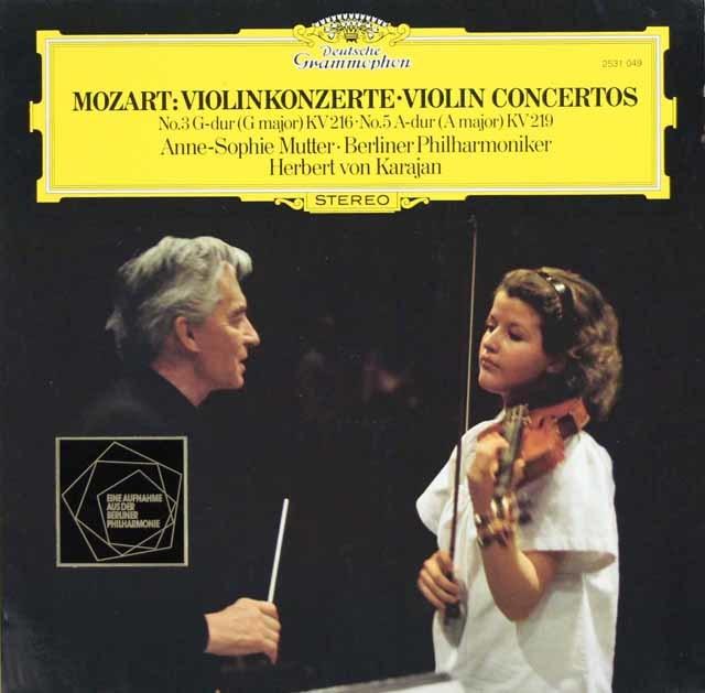 ムター&カラヤンのモーツァルト/ヴァイオリン協奏曲第3&5番 独DGG 3124 LP レコード
