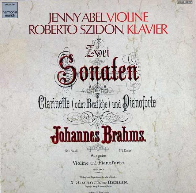 アベル&シドンのブラームス/のブラームス/ヴァイオリンソナタ集 独HM 3124 LP レコード