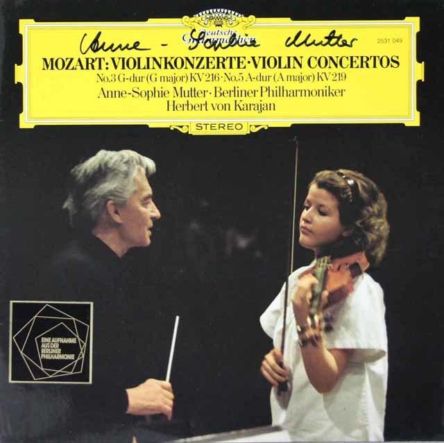 【直筆サイン入り】ムター&カラヤンのモーツァルト/ヴァイオリン協奏曲第3&5番 独DGG 3125 LP レコード