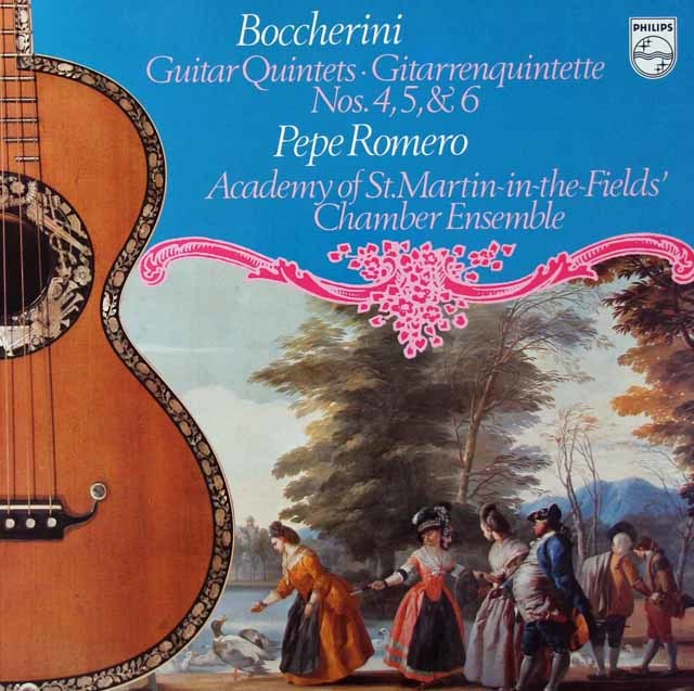 ペペ・ロメロ&アカデミー室内アンサンブルのボッケリーニ/ギター五重奏曲第4、5&6番 蘭PHILIPS 3125 LP レコード