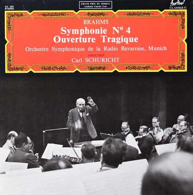 シューリヒトのブラームス/交響曲第4番&悲劇的序曲 仏Festival Classique 3125 LP レコード
