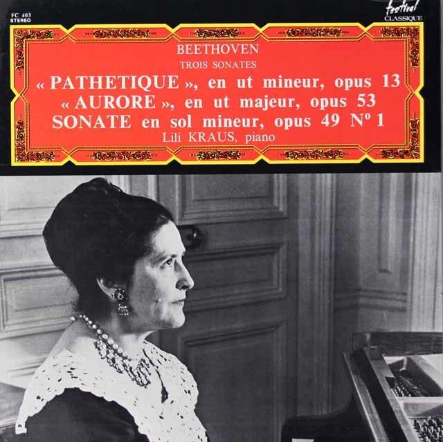 クラウスのベートヴェン/ピアノソナタ第23番「熱情」ほか 仏Festival Classique 3125 LP レコード