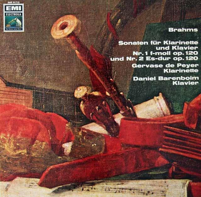 ドゥ・ペイエ&バレンボイムのブラームス/クラリネットソナタ集 独EMI 3125 LP レコード