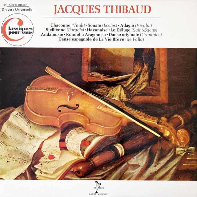 ティボーのヴィターリ/シャコンヌほか 仏TRIANON 3126 LP レコード
