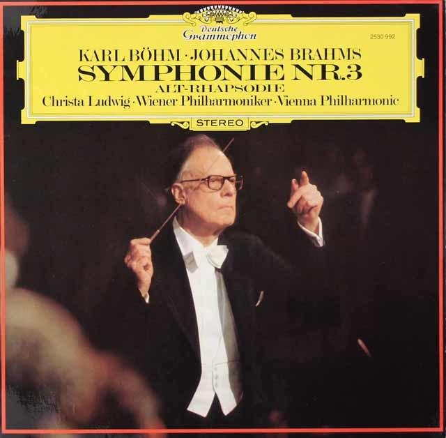ベームのブラームス/交響曲第3番&アルト・ラプソディ 独DGG 3126 LP レコード