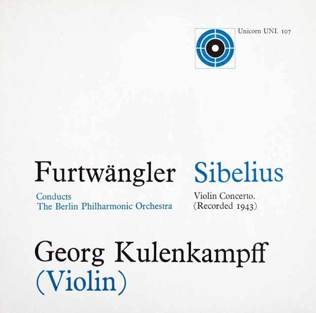 クーレンカンプ&フルトヴェングラーのシベリウス/ヴァイオリン協奏曲  英Unicorn 3126 LP レコード