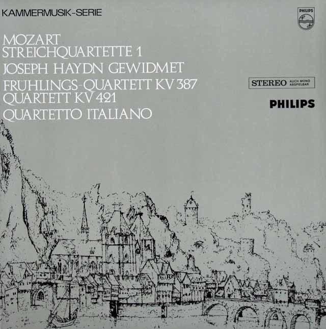 イタリア四重奏団のモーツァルト/第14番ト長調「春」&第15番ニ短調 蘭PHILIPS 3127 LP レコード