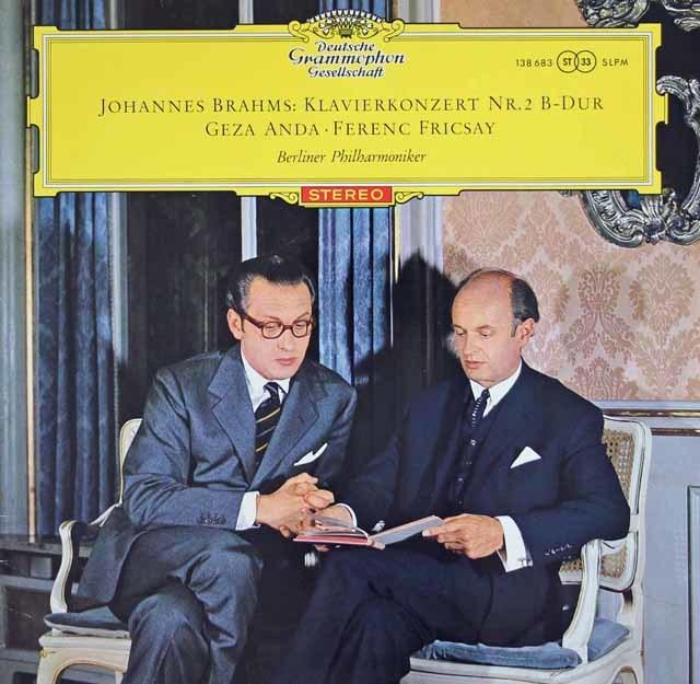 【赤ステレオ/オリジナル盤】アンダ&フリッチャイのブラームス/ピアノ協奏曲第2番 独DGG 3127 LP レコード