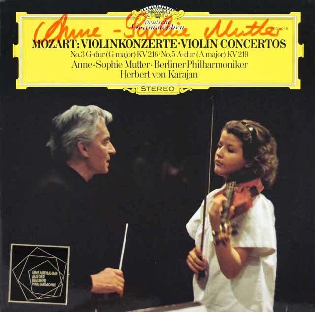 【直筆サイン入り】ムター&カラヤンのモーツァルト/ヴァイオリン協奏曲第3&5番 独DGG 3127 LP レコード