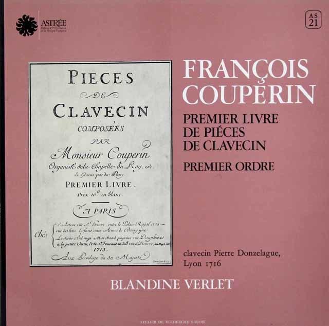ヴェルレのクープラン/クラヴサン組曲第1巻第1組曲 仏ASTREE 3127 LP レコード