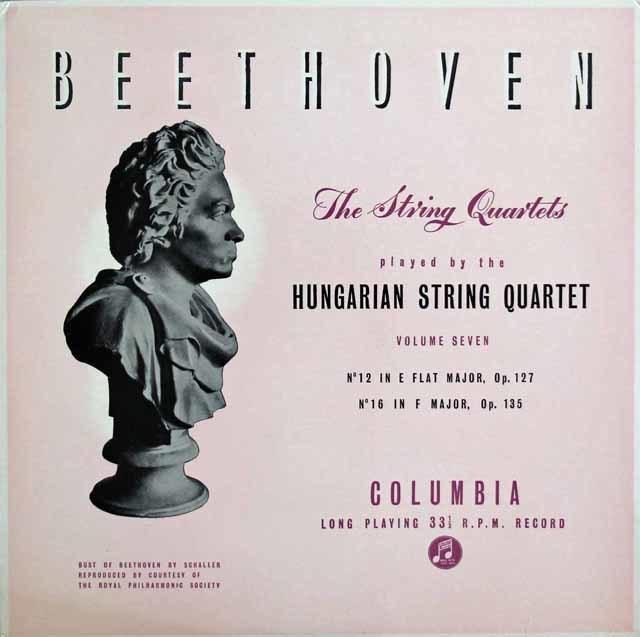 【オリジナル盤】ハンガリー四重奏団のベートーヴェン/弦楽四重奏曲第12番&13番 英Columbia 3128 LP レコード